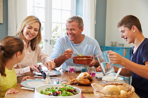 Family meal time is important, it allows the family to bond.
