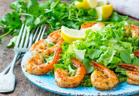 ChefBear Complete Meals - arugula & shrimp salad with lemony vinaigrette