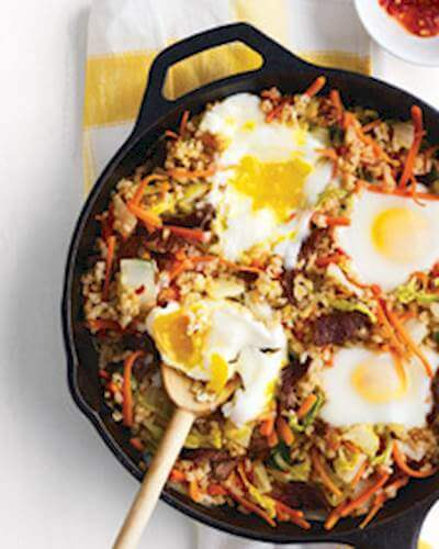 Brown Rice With Eggs, Vegetables & Beef Recipe
