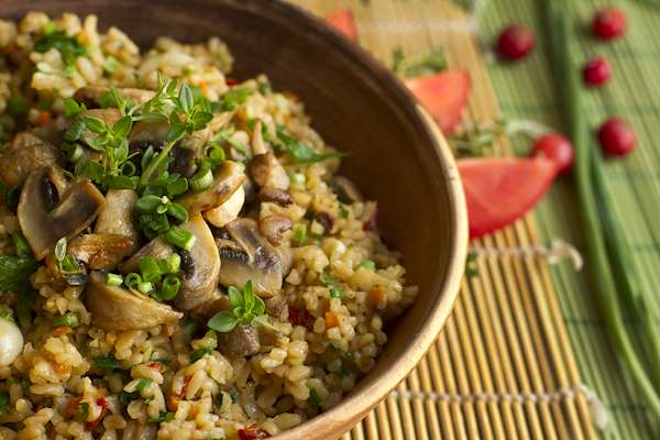 Bulgur Pilaf With Garbanzo Beans & Mushrooms Recipe