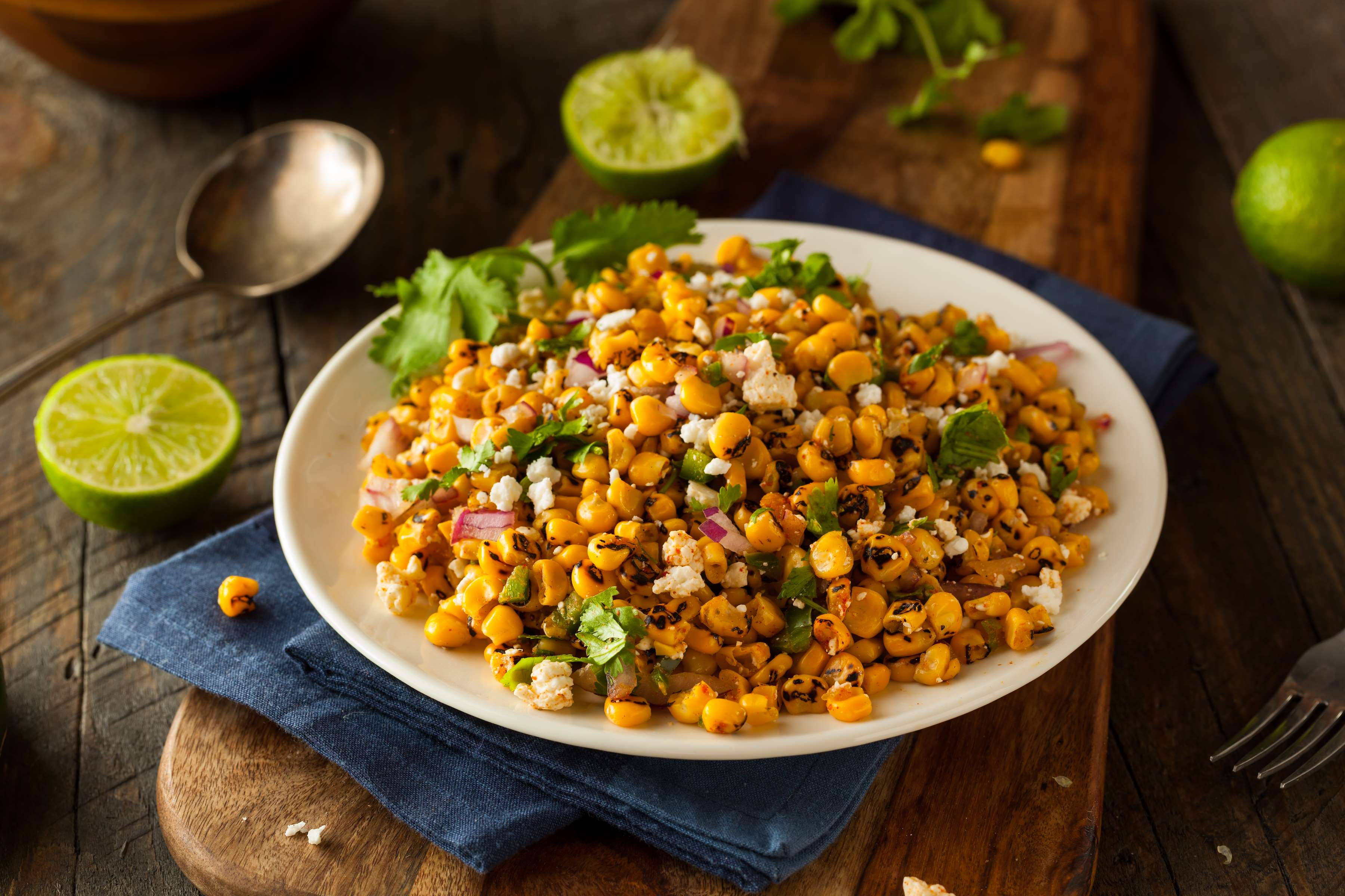 Charred Corn Salad With Creamy Tomatillo Dressing Recipe | RecipeSavants.com