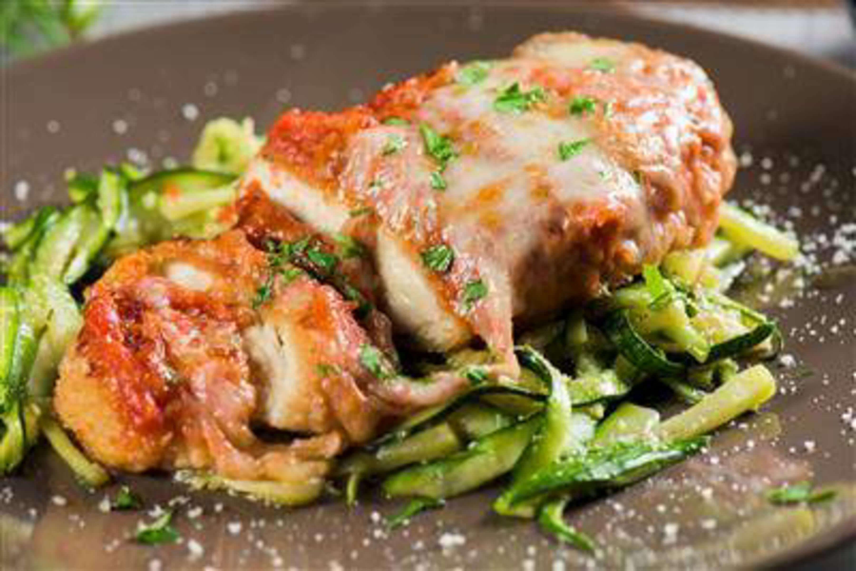 Chicken Parmesan Over Zucchini Noodles Recipe | RecipeSavants.com