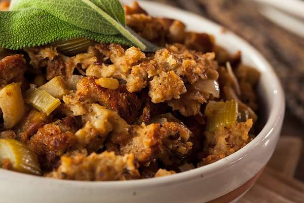 Corn Bread Apple 'Sausage' Stuffing (Vegan) Recipe