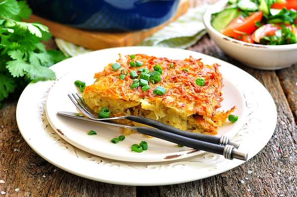 RecipeSavants - Crispy Potato-Leek Kugel