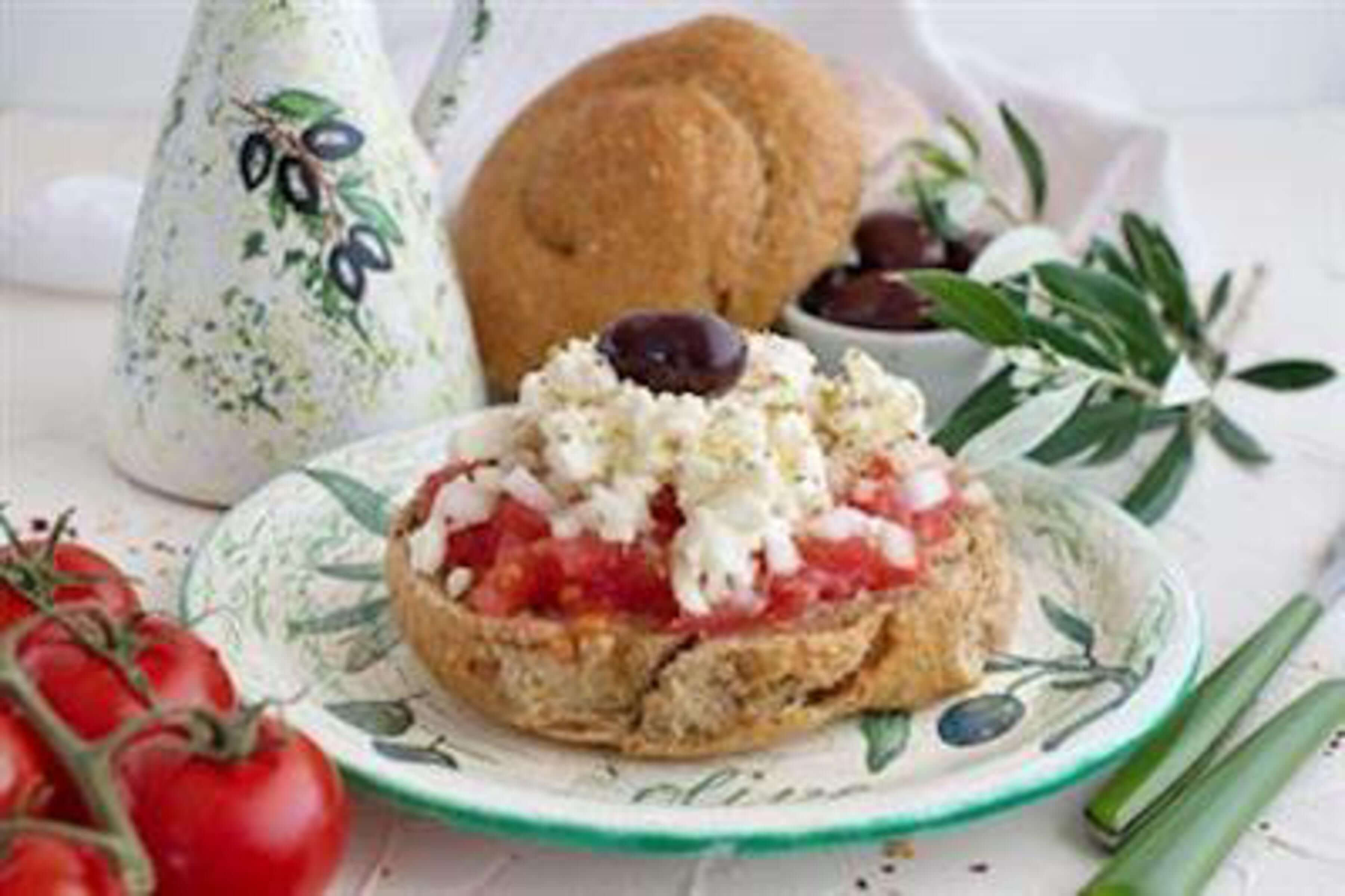 Dakos With Tomatoes And Cheese Recipe | RecipeSavants.com