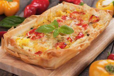 Phyllo Pizza With Smoked Mozzarella & Cherry Tomatoes Recipe
