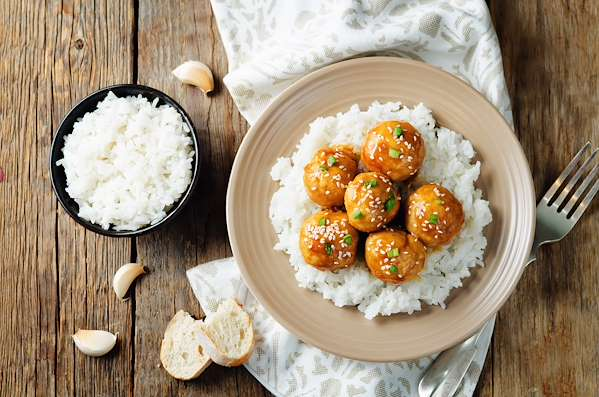 ChefBear Complete Meals - savory thai-style meatballs