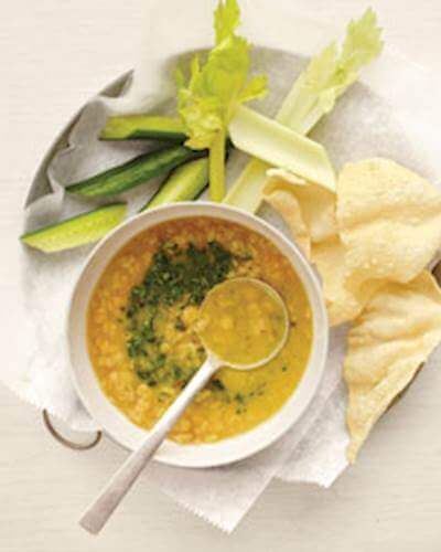 Yellow Lentil Soup With Cilantro Chutney Recipe
